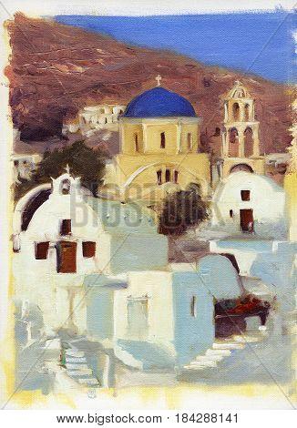 Narrow streets and small houses of Santorini