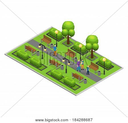 Isometric city park concept with walking people green trees bushes lanterns and benches vector illustration