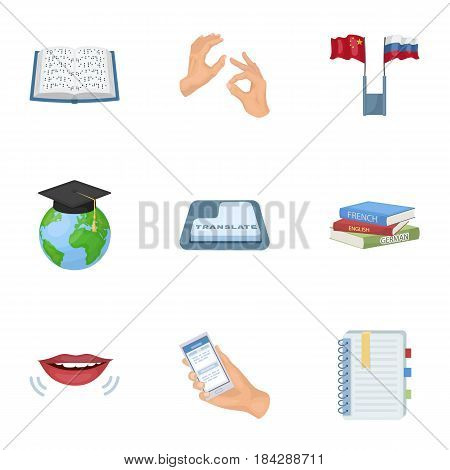Teaching Chinese in Russia. Translation of the Chinese language.Interpreter ang translator icon in set collection on cartoon style vector symbol stock web illustration.
