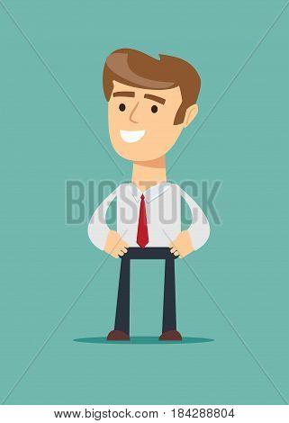 Portrait of a handsome CEO smiling businessman. Stock vector illustration for poster, greeting card, website, ad, business presentation, advertisement design.