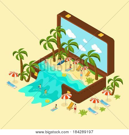 Isometric beach vacation concept with relaxing people palm trees chaise lounges and sea in traveling bag vector illustration