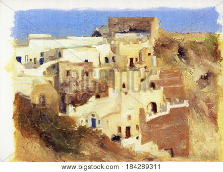 Narrow streets and small houses of Santorini oil painting on canvas
