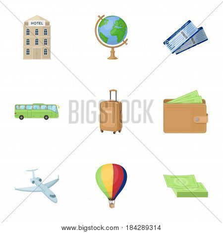Set of icons on the theme of rest. Travel abroad. Rest ang travel icon in set collection on cartoon style vector symbol stock web illustration.