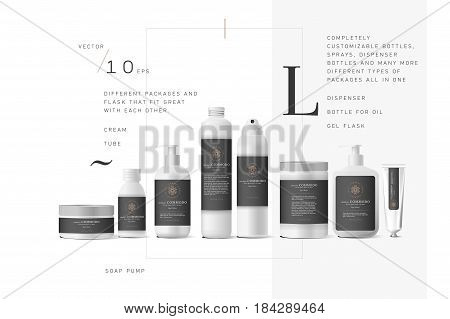 Realistic white cosmetic cream container and tube for cream, ointment, toothpaste, lotion Mock up bottle. Gel, powder, balsam, with black label. Soap pump. Containers for bulk mixtures.