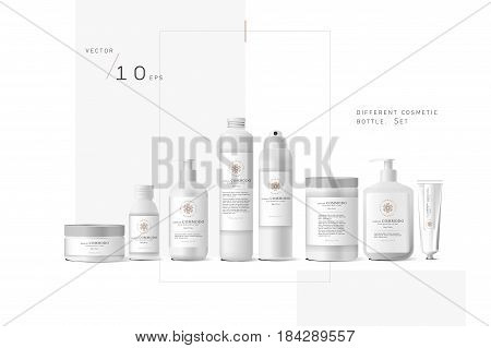 Realistic white cosmetic cream container and tube for cream, ointment, toothpaste, lotion Mock up bottle. Gel, powder, balsam, with white label. Soap pump. Containers for bulk mixtures.