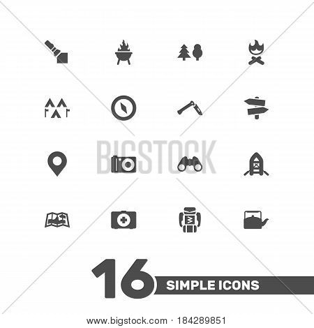 Set Of 16 Camping Icons Set.Collection Of Bbq, Signpost, Map And Other Elements.