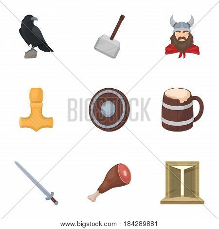 Ancient warriors of the Vikings on the ship. Outfit and symbols of the Vikings.Vikings icon in set collection on cartoon style vector symbol stock web illustration.