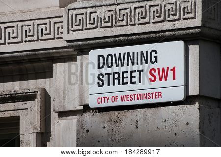 London UK - April 25 2017: Downing Street signpost
