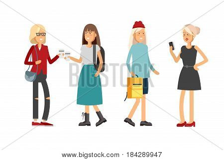 Flat illustratuion set of female students keep paper coffee cup and chatting with each other . Fashion students. Young and stylish girl. Trendy youth. Beautiful young people. Friends