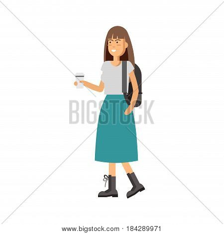 Flat vector illustration girl having a coffee and walking. Young woman wear modern clothes. Stylish look of girl isolated in white background.