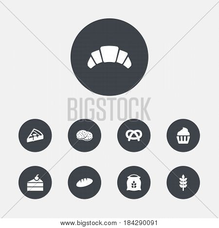 Set Of 9 Stove Icons Set.Collection Of Shortcake, Snack, Dessert And Other Elements.