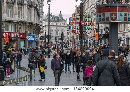 London UK - April 25 2017: Busy Leicester Square in a midday