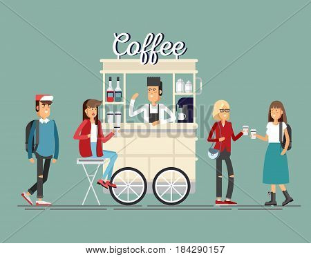Creative detailed vector street coffee cart or shop with espresso machine, syrup bottles, disposable cups and with seller. Young people having a coffee