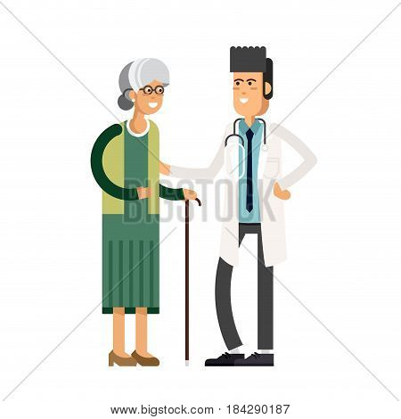 Young male doctor helping a elderly woman with a cane. Vector illustration of a flat design