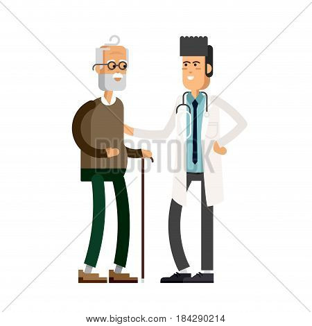 Young male doctor helping a elderly man with a cane. Vector illustration of a flat design