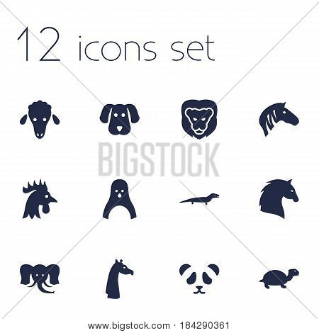 Set Of 12 Beast Icons Set.Collection Of Rooster, Diver, Wildcat And Other Elements.