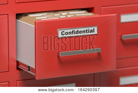 Confidential Files And Folders In Cabinet In Office. 3D Rendered