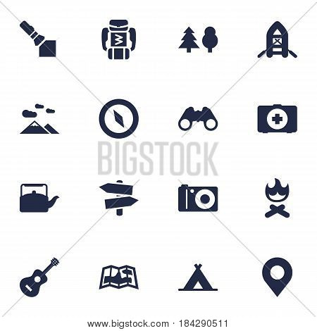 Set Of 16 Picnic Icons Set.Collection Of Inflatable Raft, Photo Camera, First Aid Box And Other Elements.