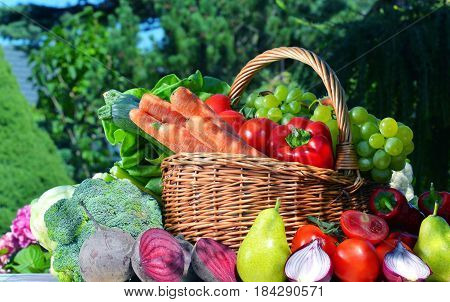 Fresh Organic Vegetables And Fruits In The Garden