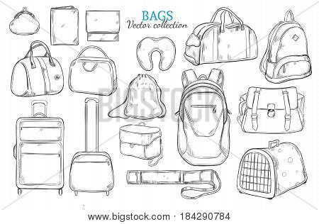 Hand drawn travel bags set with backpack baggage luggage suitcases purse tube clutch pillow gadget cases isolated vector illustration