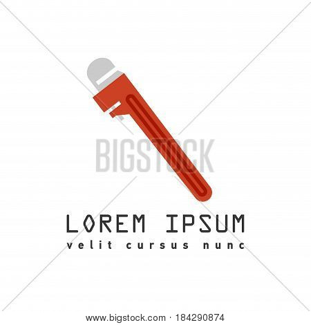 Vector flat outline style red pipe adjustable metal wrench icon