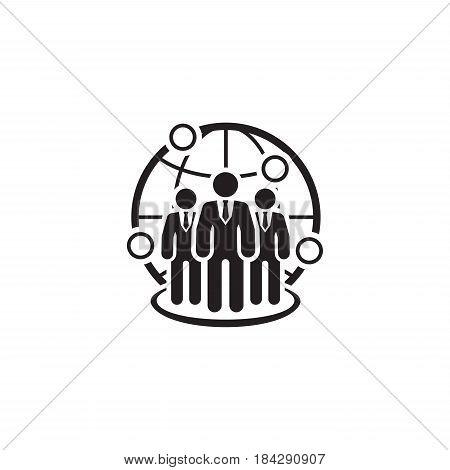 Global Business Icon. Flat Design. Isolated Illustration