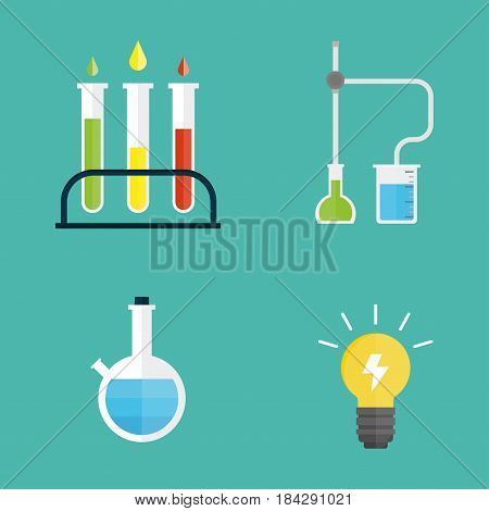 Lab symbols test medical laboratory scientific biology design molecule microscope concept and biotechnology science chemistry icons vector illustration. Experiment research equipment.