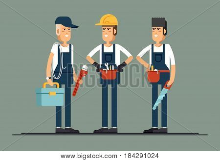 Construction workers vector flat characters. Young man friendly smiling workers in workwear overalls standing isolated and holding building tools. Buildin specialists ready for work