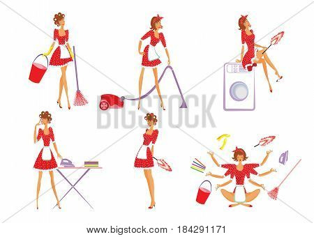 Colorful home cleaning set with beautiful housewife doing different housekeeping works isolated vector illustration