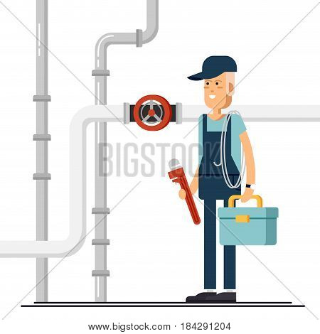 Cool vector plumber male character standing holding tool box and plumber wrench. Friendly smiling adult plumbing professional person ready for work, flat design isolated