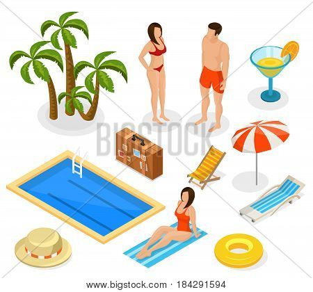 Isometric summer vacation elements set with tourists palm trees cocktail bag pool hat umbrella lifebuoy recliners isolated vector illustration