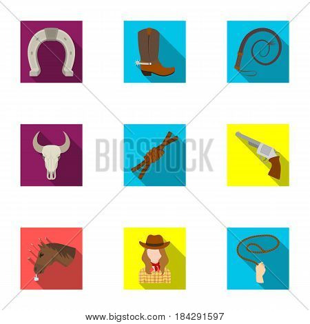 A set of pictures about cowboys. Cowboys on the ranch, horses, weapons, whips.Rodeo icon in set collection on flat style vector symbol stock web illustration.