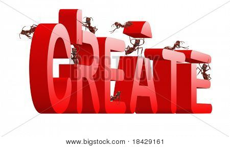 create ants building word creation concept for creativity and innovation in red letters