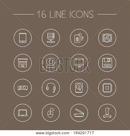 Set Of 16 Notebook Outline Icons Set.Collection Of Scanner, Projector, Headphone And Other Elements.