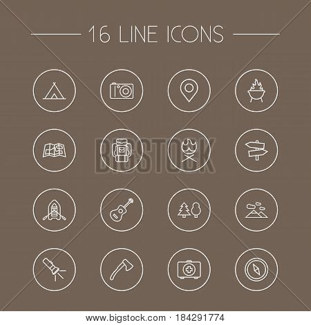 Set Of 16 Outdoor Outline Icons Set.Collection Of Place Pointer, Forest, Medical Kit And Other Elements.