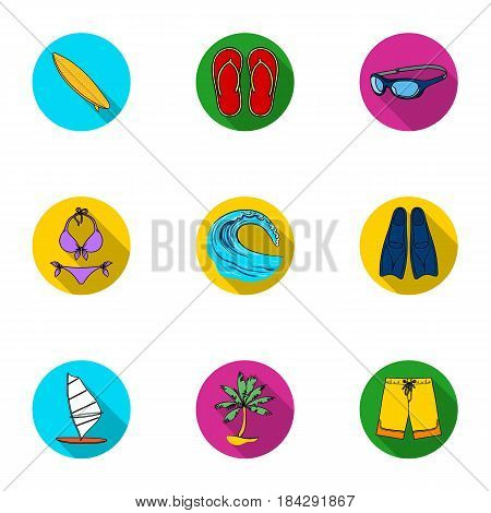 A collection of pictures on the theme of the beach, the sea, surfing. Rescuers of the beach.Surfing icon in set collection on flat style vector symbol stock web illustration.