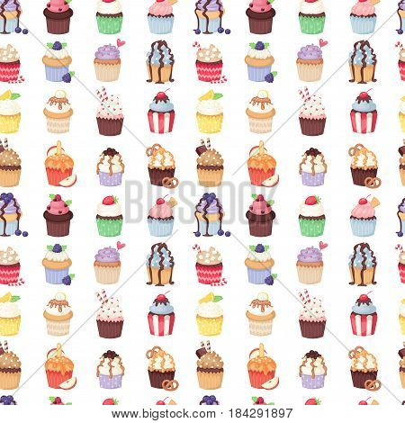 Set of cute vector cupcakes and muffins. Chocolate celebration birthday food. Sweet bakery party cute sprinkles decoration. Candy sugar delicious seamless pattern.
