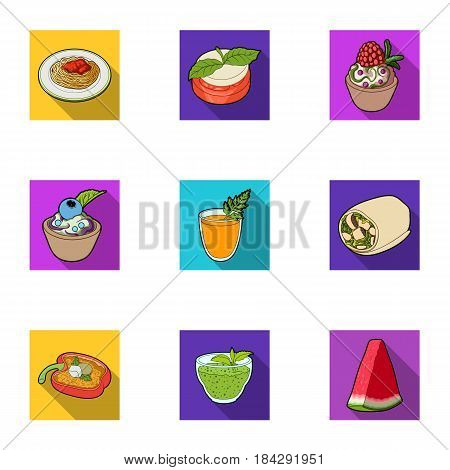 Pictures about vegetarianism. Vegetarian dishes, food vegetarian. Vegetables, fruits, herbs, mushrooms. Vegetarian dishes icon in set collection on flat style vector symbol stock web illustration.