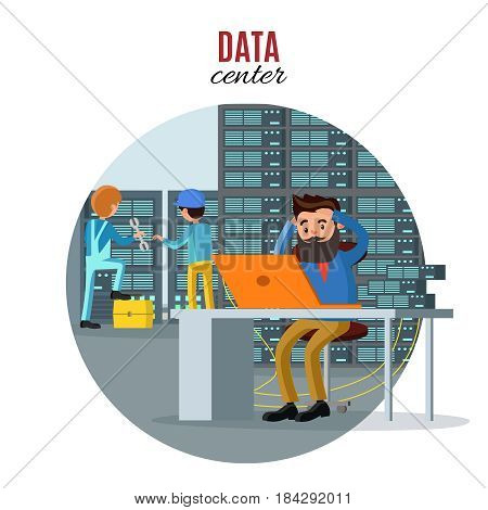 Technology repair service concept with engineers fixing problems and checking web hosting work in server room vector illustration