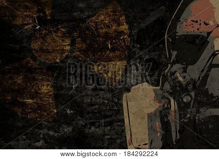 Man with protective gas mask on dark metal plate background with atomic radiation warning sign