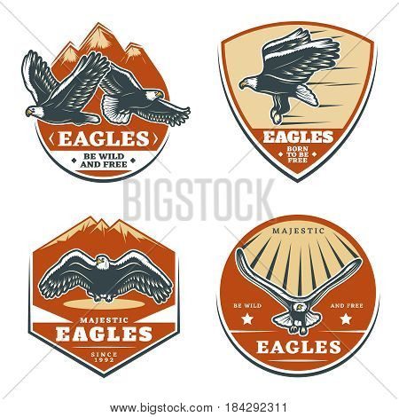 Colored vintage american eagles emblems set of different shapes with inscriptions birds and mountains isolated vector illustration