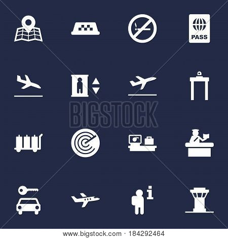 Set Of 16 Aircraft Icons Set.Collection Of Cab, Passport, Luggage Check And Other Elements.