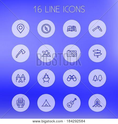 Set Of 16 Outdoor Outline Icons Set.Collection Of Mountains, Place Pointer, Grill And Other Elements.