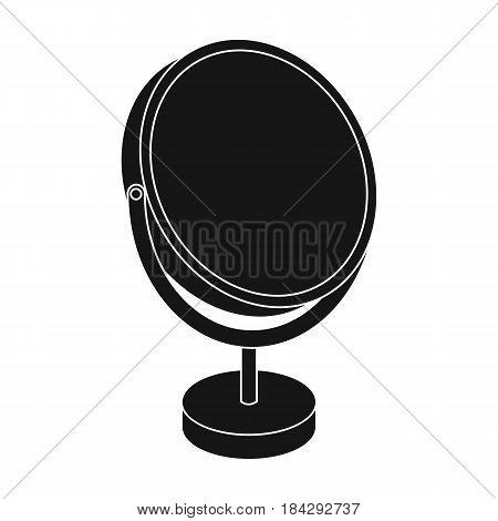 Desk mirror.Barbershop single icon in black style vector symbol stock illustration .