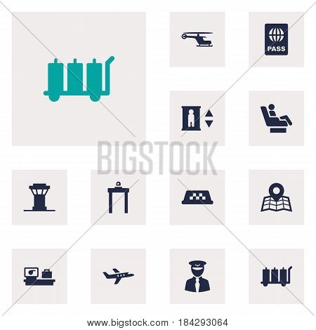 Set Of 12 Aircraft Icons Set.Collection Of Aircraft, Location, Passport And Other Elements.