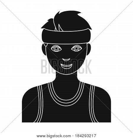 Young basketball player.Basketball single icon in black style vector symbol stock illustration .