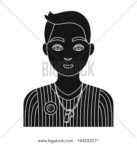 Basketball referee.Basketball single icon in black style vector symbol stock illustration .