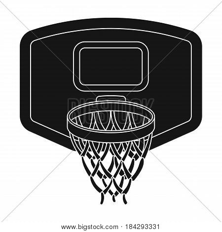 Shield with basket.Basketball single icon in black style vector symbol stock illustration .