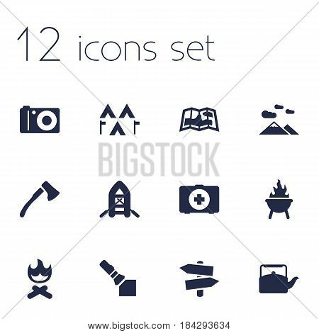 Set Of 12 Outdoor Icons Set.Collection Of Map, Campfire, Photo Camera And Other Elements.