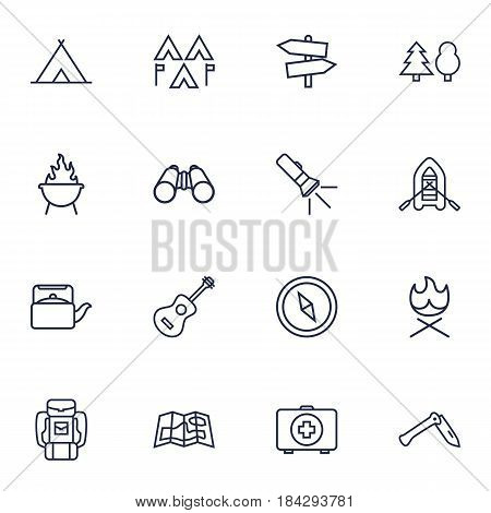 Set Of 16 Picnic Outline Icons Set.Collection Of Guitar, Forest, Penknife And Other Elements.